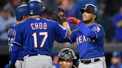 <p>               Texas Rangers' Willie Calhoun, right, celebrates his three-run home run with Shin-Soo Choo (17) and Jose Trevino, left, during the third inning of a baseball game against the Baltimore Orioles, Friday, Sept. 6, 2019, in Baltimore. Orioles catcher Pedro Severino, bottom center, looks on. (AP Photo/Nick Wass)             </p>