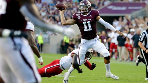 <p>               Texas A&M quarterback Kellen Mond (11) looks to pass as Lamar defensive back Andre Mulinax (22) applies pressure during the first half of an NCAA college football game, Saturday, Sept. 14, 2019, in College Station, Texas. (AP Photo/Sam Craft)             </p>