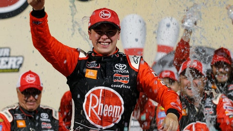 <p>               Christopher Bell celebrates his win in the NASCAR Xfinity Series auto race in Victory Lane at Richmond Raceway in Richmond, Va., Friday, Sept. 20, 2019. (AP Photo/Steve Helber)             </p>