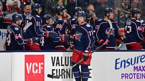 <p>               Columbus Blue Jackets' Josh Anderson celebrates his goal against the Pittsburgh Penguins during the third period of a preseason NHL hockey game, Saturday, Sept. 21, 2019, in Columbus, Ohio. The Blue Jackets won 3-1. (AP Photo/David Dermer)             </p>