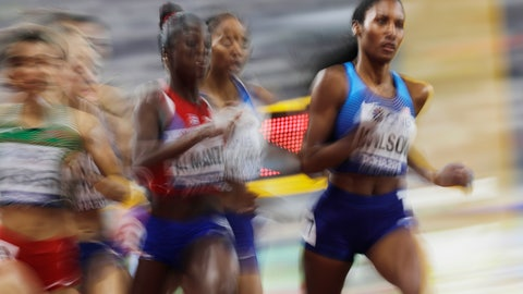 <p>               Ajee Wilson, of the United States, leads a the women's 800 meter semifinal at the World Athletics Championships in Doha, Qatar, Saturday, Sept. 28, 2019. (AP Photo/Petr David Josek)             </p>