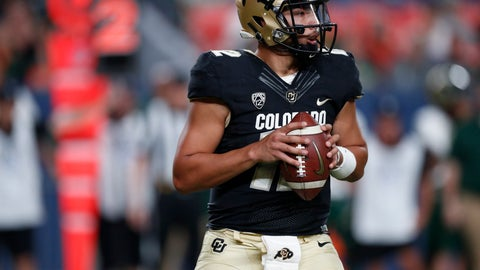 <p>               Colorado quarterback Steven Montez looks to pass the ball against Colorado State in the fourth quarter of an NCAA college football game Friday, Aug. 30, 2019, in Denver. Colorado won 52-31. (AP Photo/David Zalubowski)             </p>