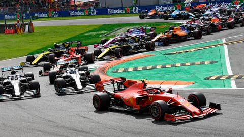 <p>               Ferrari driver Charles Leclerc of Monaco, right, leads the two Mercedes of Hamilton and Bottas at the start of the Formula One Italy Grand Prix at the Monza racetrack, in Monza, Italy, Sunday, Sept.8, 2019. (Daniel Dal Zennaro/ANSA Via AP)             </p>
