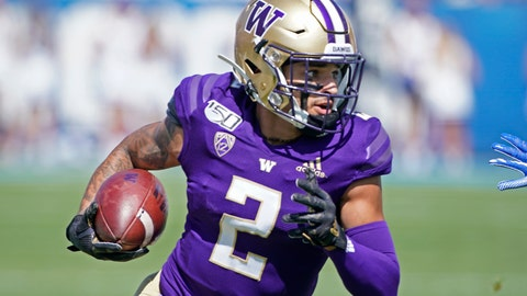 <p>               Washington wide receiver Aaron Fuller (2) runs the ball in the first half, during a game against BYU in an NCAA college football game, Saturday, Sept. 21, 2019, in Provo, Utah. (AP Photo/George Frey)             </p>