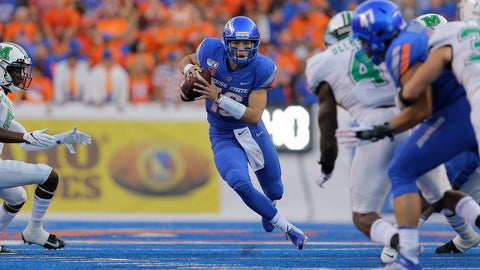 <p>               Boise State quarterback Hank Bachmeier (19) runs the ball during the first half of an NCAA college football game against Marshall in Boise, Idaho, Friday, Sept. 6, 2019. (AP Photo/Otto Kitsinger)             </p>
