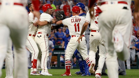 <p>               St. Louis Cardinals' Yadier Molina, second from left, is held back by teammate Matt Carpenter during a bench-clearing argument after Molina was hit by a pitch during the second inning of a baseball game against the Chicago Cubs, Saturday, Sept. 28, 2019, in St. Louis. (AP Photo/Scott Kane)             </p>