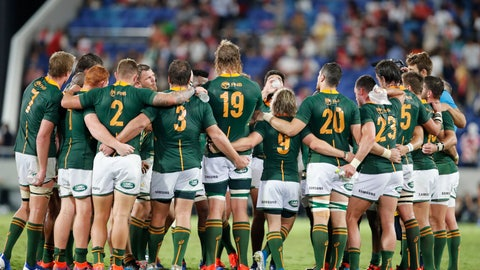 <p>               Players from the team South Africa huddle after a rugby match against Japan at Kumagaya Rugby Stadium Friday, Sept. 6, 2019, in Saitama, Japan. South Africa won 41-7. (AP Photo/Shuji Kajiyama)             </p>
