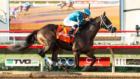 <p>               Rockingham Ranch's Nucky and jockey Norberto Arroyo, Jr. compete in the Grade I, Runhappy Del Mar Futurity at Del Mar Thoroughbred Club in Del Mar, Calif., Monday, Sept. 2, 2019. They won the Grade I, $300,000 Runhappy Del Mar Futurity. (Benoit Photo via AP)             </p>