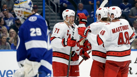<p>               Carolina Hurricanes center Lucas Wallmark (71) celebrates with left wing Jordan Martinook (48) after scoring against Tampa Bay Lightning goaltender Scott Wedgewood (29) during the third period of an NHL preseason hockey game Tuesday, Sept. 17, 2019, in Tampa, Fla. (AP Photo/Chris O'Meara)             </p>