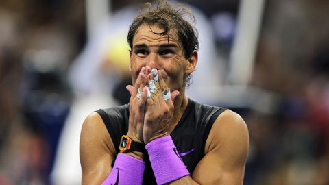 <p>               Rafael Nadal, of Spain, reacts after defeating Daniil Medvedev, of Russia, to win the men's singles final of the U.S. Open tennis championships Sunday, Sept. 8, 2019, in New York. (AP Photo/Charles Krupa)             </p>