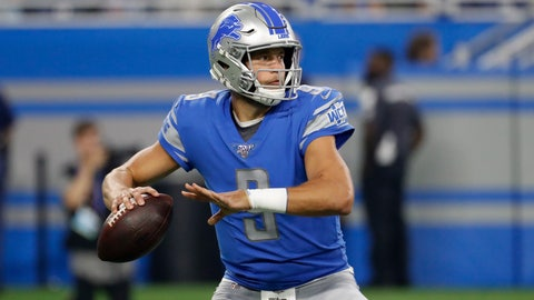 <p>               Detroit Lions quarterback Matthew Stafford (9) throws against the Los Angeles Chargers in the first half an NFL football game against the Los Angeles Chargers in Detroit, Sunday, Sept. 15, 2019. (AP Photo/Rick Osentoski)             </p>