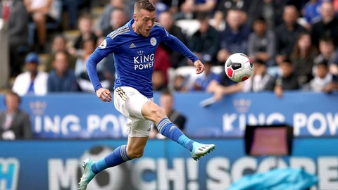 <p>               Leicester City's Jamie Vardy scores against Bournemouth during the English Premier League soccer match at the King Power Stadium, Leicester, England, Saturday Aug. 31, 2019. (Tim Goode/PA via AP)             </p>
