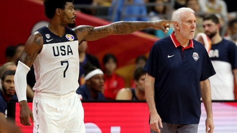 <p>               United States' Marcus Smart points near United States' coach Gregg Popovich during a quarterfinal match against France for the FIBA Basketball World Cup in Dongguan in southern China's Guangdong province on Wednesday, Sept. 11, 2019. France defeated United States 89-79. (AP Photo/Ng Han Guan)             </p>