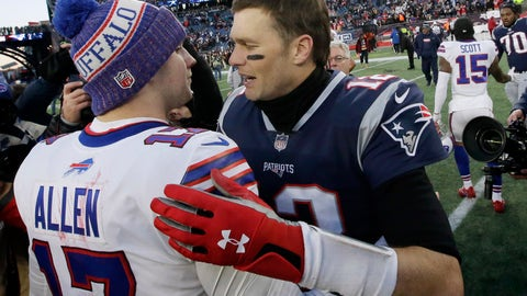 <p>               FILE - In this Dec. 23, 2018, file photo, Buffalo Bills quarterback Josh Allen, left, and New England Patriots quarterback Tom Brady speak at midfield after an NFL football game in Foxborough, Mass. The Buffalo Bills brace for Tom Brady and the Patriots to make their annual visit to town in what's been an AFC East rivalry heavily weighted in New England's favor for the past 20 years. The new-look Bills hope this weekend might be different in a matchup of two 3-0 teams.(AP Photo/Steven Senne, File)             </p>