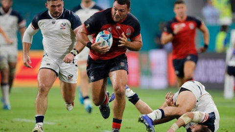 <p>               England's Ellis Genge runs during the Rugby World Cup Pool C game at Kobe Misaki Stadium against the United States in Kobe, Japan, Thursday, Sept. 26, 2019. (AP Photo/Christophe Ena)             </p>