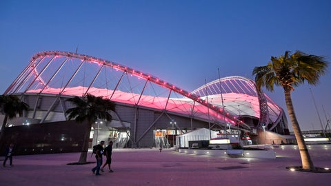 <p>               The Khalifa International Stadium shines in the evening prior to the start of the World Athletics Championships in Doha, Qatar, Thursday, Sept. 26, 2019. (AP Photo/Martin Meissner)             </p>