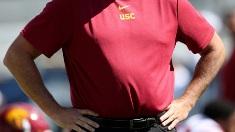 <p>               Southern California head coach Clay Helton watches his players warm up before a NCAA college football game against BYU, Saturday, Sept. 14, 2019, in Provo, Utah. (AP Photo/George Frey)             </p>