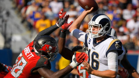 <p>               Los Angeles Rams quarterback Jared Goff, right, passes under pressure from Tampa Bay Buccaneers linebacker Shaquil Barrett during the second half of an NFL football game Sunday, Sept. 29, 2019, in Los Angeles. (AP Photo/Mark J. Terrill)             </p>