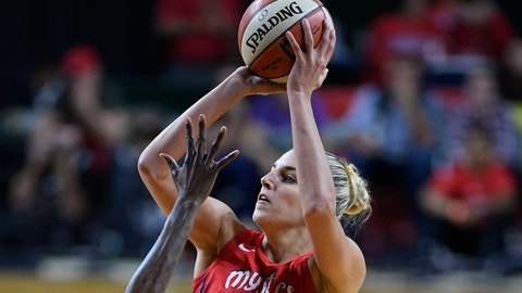 <p>               FILE - In this Sept. 12, 2018, file photo, Washington Mystics forward Elena Delle Donne (11) shoots against the Seattle Storm during the second half of Game 3 of the WNBA basketball finals, in Fairfax, Va. Delle Donne was named the Associated Press WNBA OPlayer of the Year, Wednesday, Sept. 11, 2019. (AP Photo/Nick Wass, File)             </p>