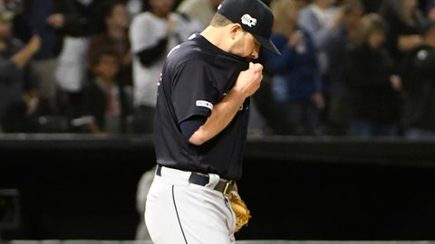 <p>               Cleveland Indians starting pitcher Aaron Civale reacts after giving up a three-run home run to Chicago White Sox's James McCann during the fourth inning of a baseball game Thursday, Sept. 26, 2019, in Chicago. (AP Photo/David Banks)             </p>