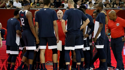 <p>               United States' coach Gregg Popovich briefs the team before a Group E match against Czech Republic for the FIBA Basketball World Cup at the Shanghai Oriental Sports Center in Shanghai on Sunday, Sept. 1, 2019. U.S. defeats Czech Republic 88-67. (AP Photo/Ng Han Guan)             </p>
