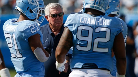 <p>               North Carolina head coach Mack Brown talks to linebacker Chazz Surratt (21) and defensive lineman Aaron Crawford (92) as they play South Carolina in the first half of an NCAA college football game  in Charlotte, N.C., Saturday, Aug. 31, 2019. (AP Photo/Nell Redmond)             </p>