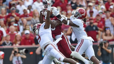 <p>               South Carolina's Shi Smith, center, catches a touchdown pass while defended by Alabama's Jordan Battle, left, and Shyheim Carter during the first half of an NCAA college football game Saturday, Sept. 14, 2019, in Columbia, S.C. (AP Photo/Richard Shiro)             </p>