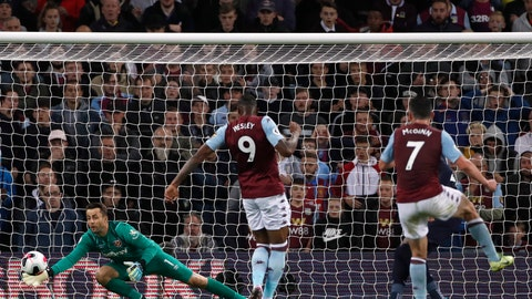 <p>               West Ham's goalkeeper Lukasz Fabianski, left, makes a save in front of Aston Villa's John McGinn, right, during their English Premier League soccer match between Aston Villa and West Ham United at Villa Park in Birmingham, England, Monday, Sept. 16, 2019. (AP Photo/Rui Vieira)             </p>
