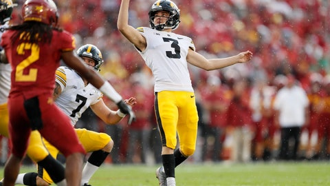 <p>               FILE - In this Sept. 14, 2019, file photo, Iowa kicker Keith Duncan (3) kicks a field goal during the first half of an NCAA college football game against Iowa State, in Ames, Iowa. Duncan was a freshman hero _ only to lose his job for two full seasons. He's re-emerged as a key cog for the 14th-ranked Hawkeyes in 2019. (AP Photo/Charlie Neibergall, File)             </p>