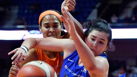 <p>               FILE - In this Sept. 4, 2019, file photo, Connecticut Sun center Brionna Jones, left, and Dallas Wings forward Megan Gustafson tangle while going for a rebound during a WNBA basketball game in Uncasville, Conn. Gustafson recently finished her rookie season in the WNBA, and is off to Hungary for pro basketball in the winter.  (Sean D. Elliot/The Day via AP, File)             </p>