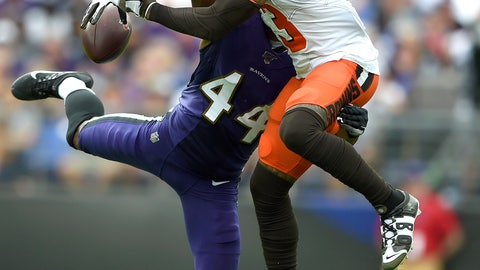 <p>               Baltimore Ravens cornerback Marlon Humphrey (44) disrupts a pass intended for Cleveland Browns wide receiver Odell Beckham (13) during the second half of an NFL football game Sunday, Sept. 29, 2019, in Baltimore. (AP Photo/Gail Burton)             </p>
