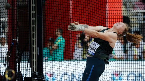 <p>               Sofiya Palkina, competing as a neutral athlete, competes during the women's hammer throw qualifying round at the World Athletics Championships in Doha, Qatar, Friday, Sept. 27, 2019. (AP Photo/Hassan Ammar)             </p>
