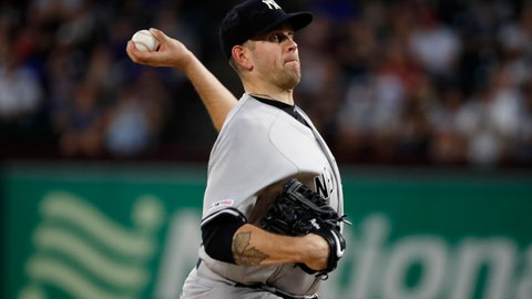 <p>               New York Yankees starting pitcher James Paxton throws to the Texas Rangers i the first inning of a baseball game in Arlington, Texas, Friday, Sept. 27, 2019. (AP Photo/Tony Gutierrez)             </p>