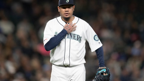 <p>               Seattle Mariners starting pitcher Felix Hernandez walks off the field during the fifth inning of the team's baseball game against the Chicago White Sox, Saturday, Sept. 14, 2019, in Seattle. The Mariners won 2-1 in 10 innings. (AP Photo/Stephen Brashear)             </p>