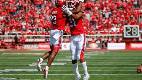 <p>               Utah wide receiver Demari Simpkins (3) celebrates with teammate Solomon Enis (21) after scoring against Northern Illinois in the first half of an NCAA college football game Saturday, Sept. 9, 2019, Salt Lake City. (AP Photo/Rick Bowmer)             </p>