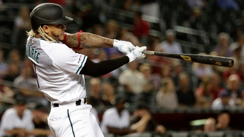 <p>               Arizona Diamondbacks' Ketel Marte follows through on a double against the Miami Marlins during the first inning of a baseball game Tuesday, Sept. 17, 2019, in Phoenix. (AP Photo/Matt York)             </p>