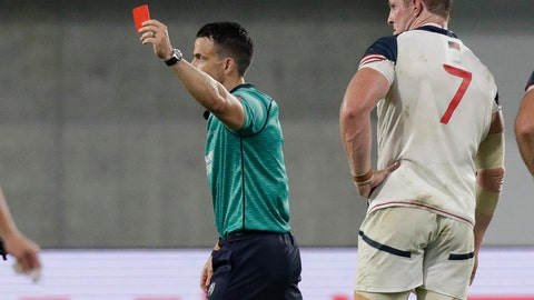 <p>               Referee Nick Berry shows a red card to United States' John Quill, right, during the Rugby World Cup Pool C game at Kobe Misaki Stadium, between England and the United States in Kobe, Japan, Thursday, Sept. 26, 2019. (AP Photo/Aaron Favila)             </p>