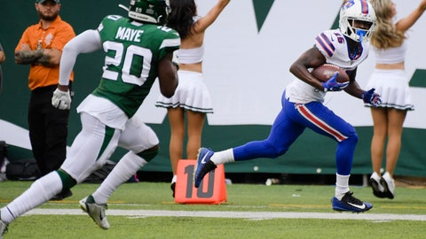 <p>               Buffalo Bills' John Brown (15) runs away from New York Jets' Marcus Maye (20) for a touchdown during the second half of an NFL football game Sunday, Sept. 8, 2019, in East Rutherford, N.J. (AP Photo/Bill Kostroun)             </p>