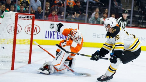 <p>               Boston Bruins' Connor Clifton, right, scores a goal past Philadelphia Flyers' Alex Lyon during the third period of a preseason NHL hockey game Thursday, Sept. 19, 2019, in Philadelphia. (AP Photo/Matt Slocum)             </p>