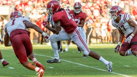 <p>               Alabama wide receiver Jerry Jeudy (4) runs a pass reception win for a 19-yard touchdown against New Mexico State during the second half of an NCAA college football game Saturday, Sept. 7, 2019, in Tuscaloosa, Ala. (AP Photo/Vasha Hunt)             </p>