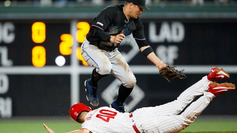 <p>               Philadelphia Phillies' Adam Haseley, bottom, slides into second base past Miami Marlins shortstop Miguel Rojas to advance on a wild pitch by starting pitcher Pablo Lopez during the fourth inning of a baseball game, Friday, Sept. 27, 2019, in Philadelphia. (AP Photo/Matt Slocum)             </p>