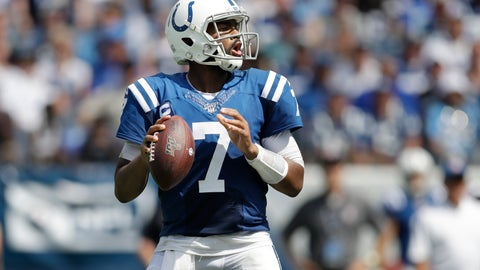 <p>               Indianapolis Colts quarterback Jacoby Brissett plays against the Tennessee Titans in the first half of an NFL football game Sunday, Sept. 15, 2019, in Nashville, Tenn. (AP Photo/James Kenney)             </p>