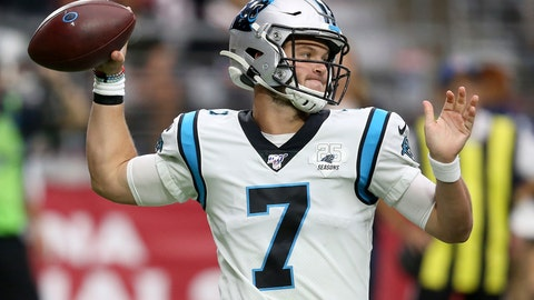 <p>               Carolina Panthers quarterback Kyle Allen (7) throws against the Arizona Cardinals during the first half of an NFL football game, Sunday, Sept. 22, 2019, in Glendale, Ariz. (AP Photo/Ross D. Franklin)             </p>