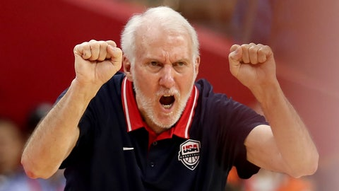 <p>               United States' coach Gregg Popovich gestures during a quarterfinal match against France for the FIBA Basketball World Cup in Dongguan in southern China's Guangdong province on Wednesday, Sept. 11, 2019. France defeated United States 89-79. (AP Photo/Ng Han Guan)             </p>