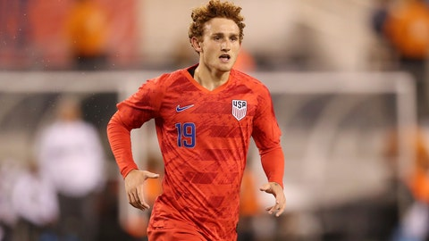 <p>               FILE - In this Sept. 6, 2019, file photo, United States forward Josh Sargent runs up the pitch during an international friendly soccer match against Mexico, in East Rutherford, N.J. Sargent hopes to play for the United States in his hometown during Tuesday's exhibition against Uruguay at Busch Stadium.  (AP Photo/Steve Luciano, File)             </p>