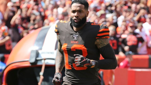 """<p>               FILE - In this Sunday, Sept. 8, 2019, file photo, Cleveland Browns wide receiver Odell Beckham Jr. is introduced as he runs out on the field before an NFL football game against the Tennessee Titans, in Cleveland. Odell Beckham Jr. says former Browns defensive coordinator Gregg Williams instructed his players to """"take me out"""" of a preseason game in 2017. The Pro Bowl wide receiver sustained an ankle injury when Cleveland's Briean Boddy-Calhoun cut his legs out while he was with the New York Giants. Beckham said current Cleveland players told him that Williams instructed them to """"take me out of the game, and it's preseason."""" (AP Photo/Ron Schwane, File)             </p>"""