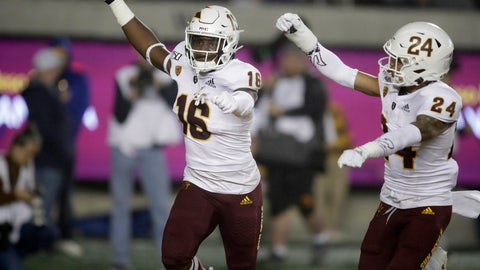 <p>               Arizona State's Aashari Crosswell, left, celebrates with Chase Lucas (24) after intercepting a pass intended for California's Jordan Duncan in the first half of an NCAA college football game, Friday, Sept. 27, 2019, in Berkeley, Calif. (AP Photo/Ben Margot)             </p>