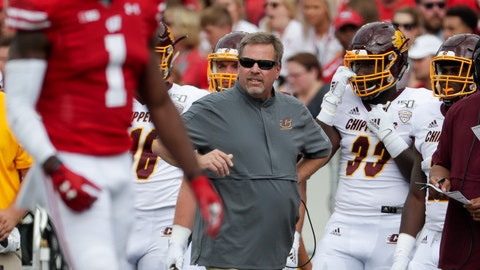 <p>               Central Michigan head coach Jim McElwain watches during the first half of an NCAA college football game against Wisconsin Saturday, Sept. 7, 2019, in Madison, Wis. (AP Photo/Morry Gash)             </p>