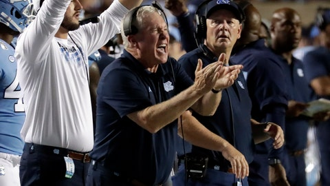 <p>               North Carolina coach Mack Brown cheers on his team during the fourth quarter of an NCAA college football game against Miami in Chapel, N.C., Saturday, Sept. 7, 2019. (AP Photo/Chris Seward)             </p>