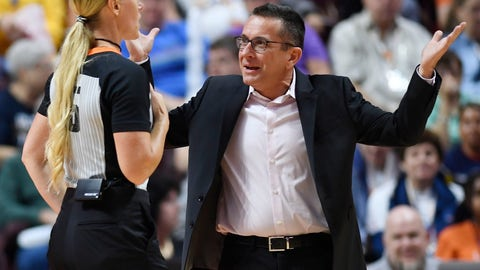 <p>               Connecticut Sun coach Curt Miller questions official Tiffany Bird during the team's WNBA basketball game against the Chicago Sky on Friday, Sept. 6, 2019, in Uncasville, Conn. (Sean D. Elliot/The Day via AP)             </p>